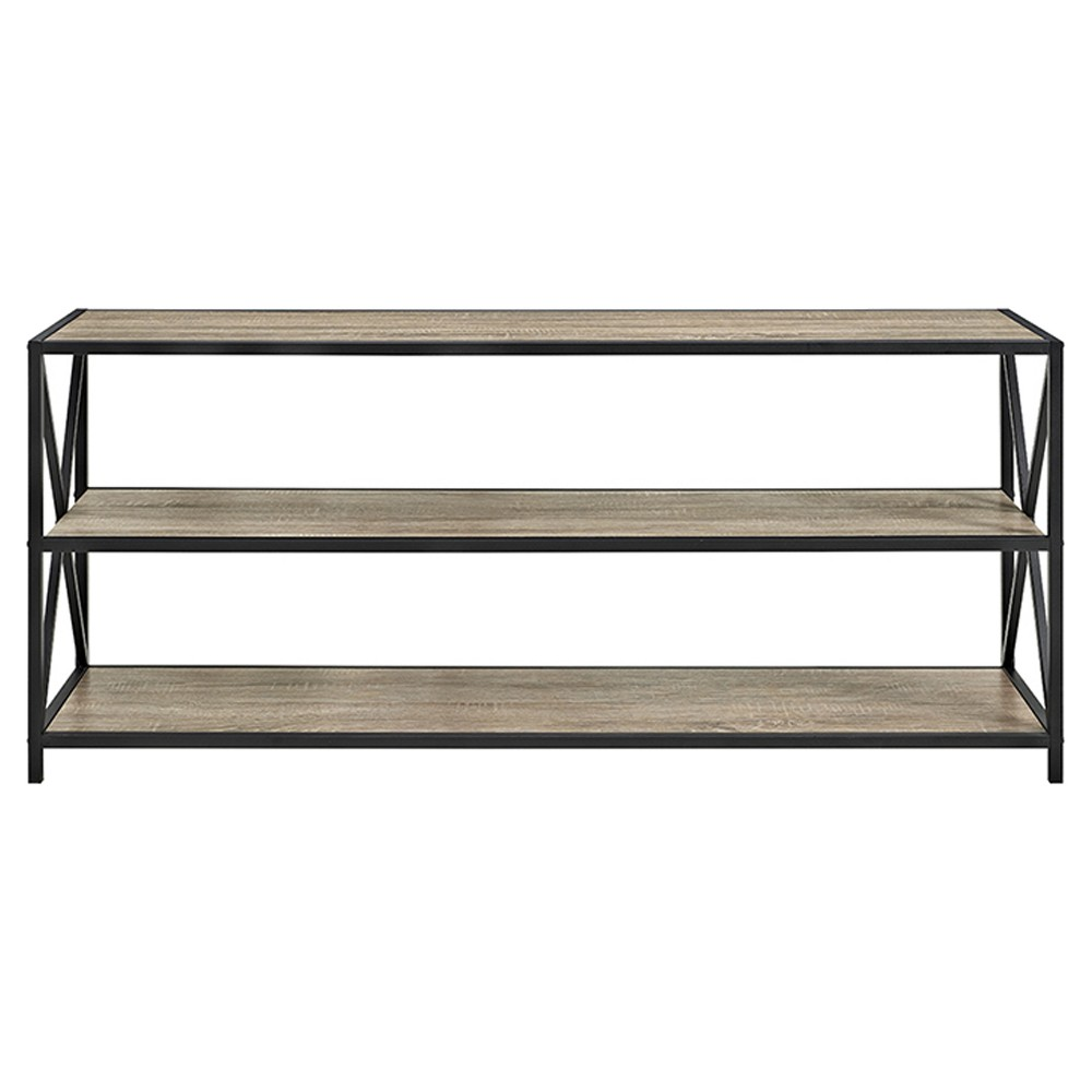 "Image of ""26"""" X Frame Metal and Wood Console Table Driftwood - Saracina Home, Brown"""