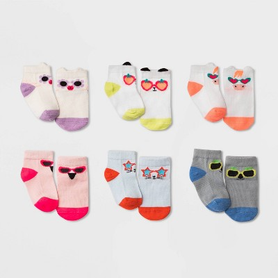 Baby Girls' 6pk Animals/Sunglasses Print Socks - Cat & Jack™ 6-12M