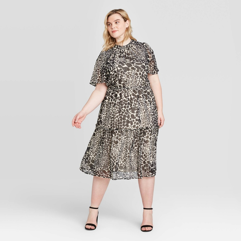 Women's Plus Size Leopard Print Short Sleeve Midi Dress - Who What Wear Black 2X was $36.99 now $25.89 (30.0% off)