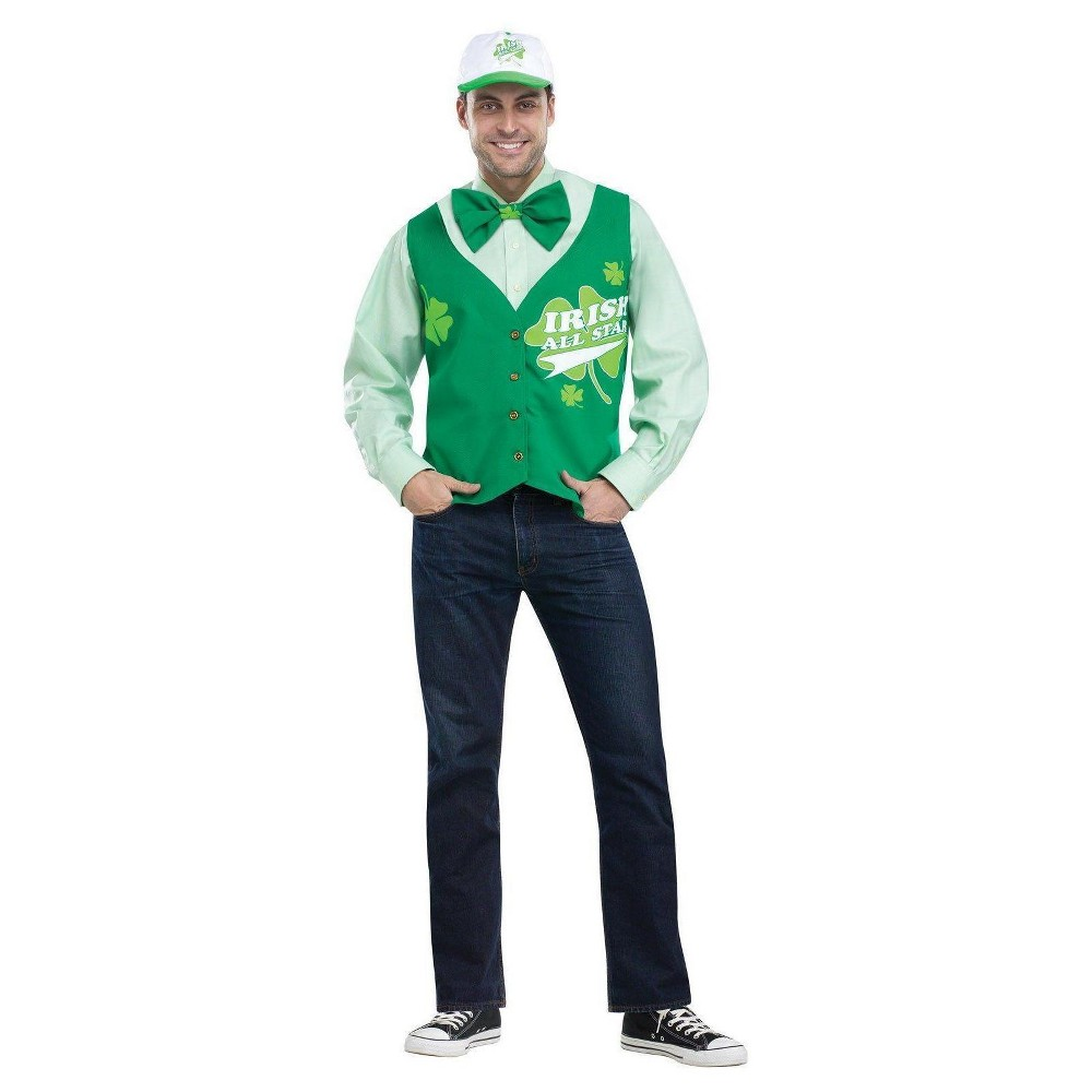 St. Patrick's Day All Star Deluxe Costume Vest Hat and Tie Set, Men's, Multi-Colored