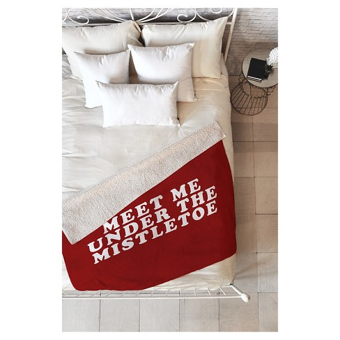 "Red Novelty Leah Flores Mistletoe Kiss Sherpa Throw Blanket (50""X60"") - Deny Designs® - image 1 of 3"