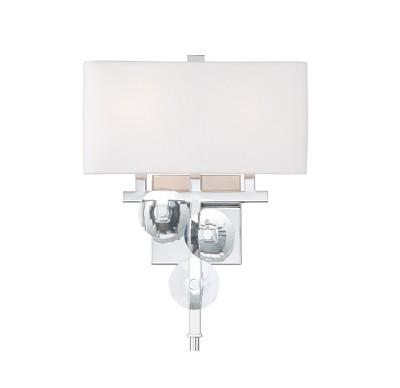 "16"" Engeared 2 Light Wall Sconce Chrome/White Fabric - Varaluz"
