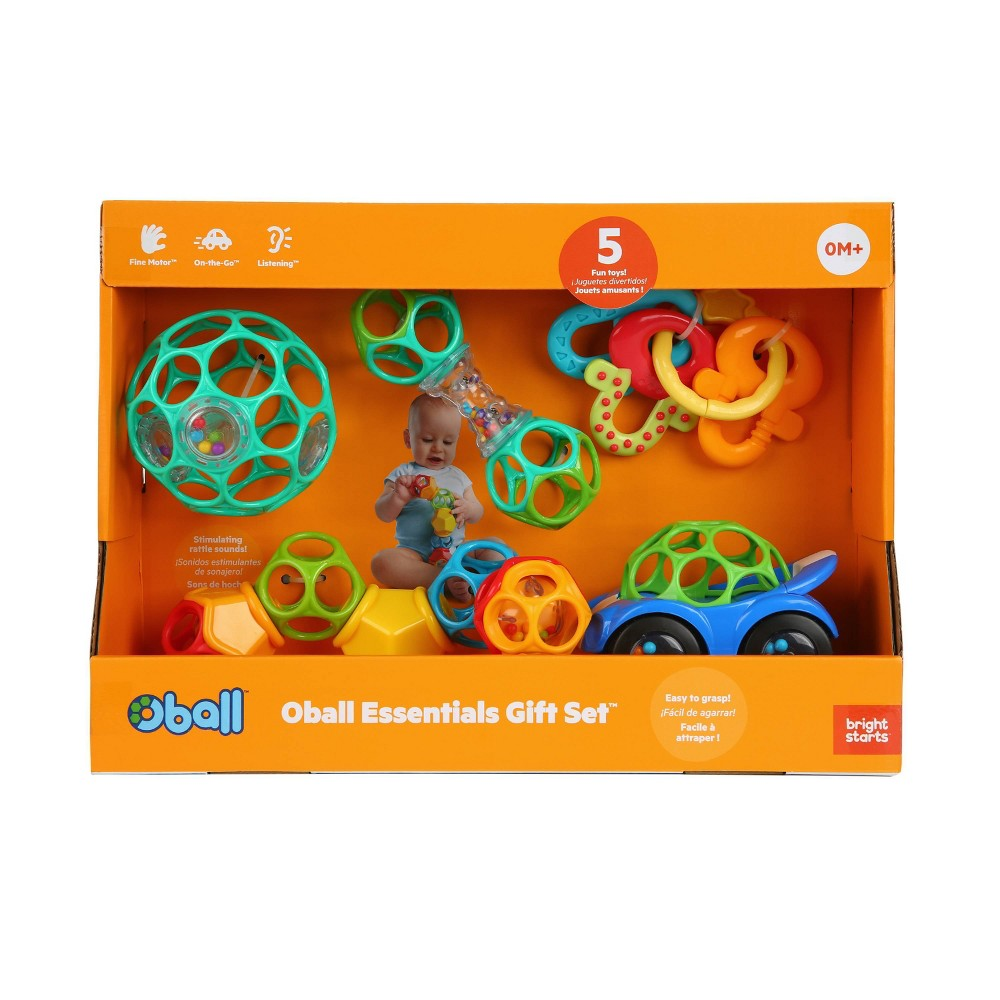 Image of Oball Essentials Gift Set Rattles and Teether - 5pc