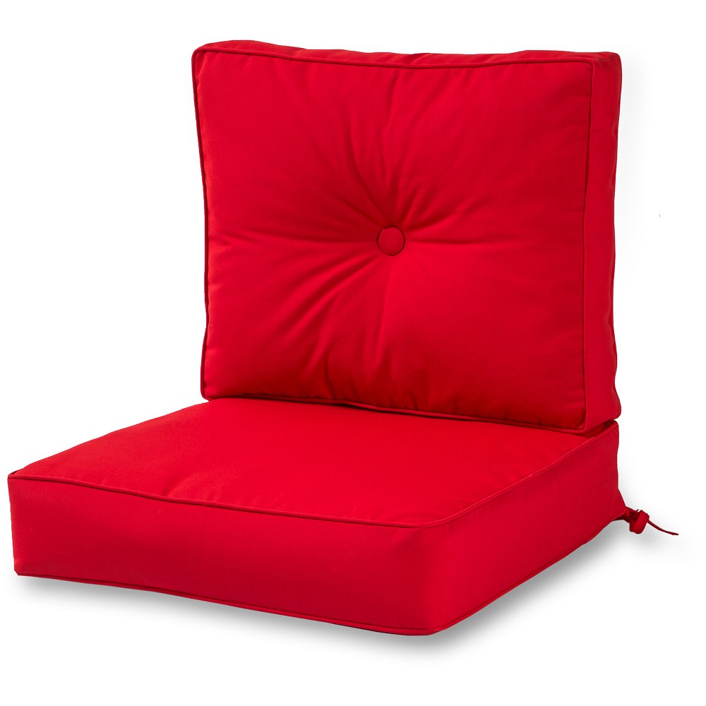 Image of 2pc Solid Jockey Red Outdoor Sunbrella Deep Seat Cushion Set - Kensington Garden