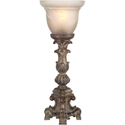 """Regency Hill French LED Uplight Desk Table Lamp 18"""" High Beige Wash Candlestick Alabaster Glass Shade for Bedroom Bedside Office"""