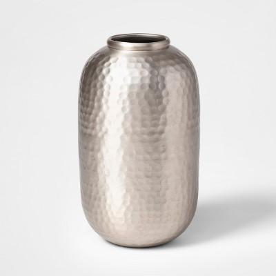 9.5  x 5.5  Hammered Metal Vase Silver - Threshold™