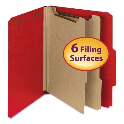 "Smead Pressboard Classification Folder 2"" Exp. 2 Dividers Letter Bright Red 10/BX 14061"