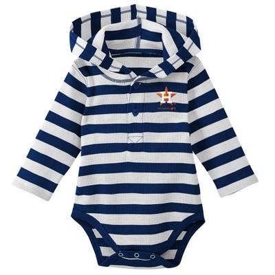 Houston Astros Boys' Striped Long Sleeve Hooded Bodysuit - 6-9M