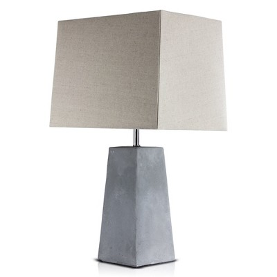 "23"" Concrete Industrial Table Lamp with Canvas Shade (Includes CFL Light Bulb)Gray - American Art Decor"