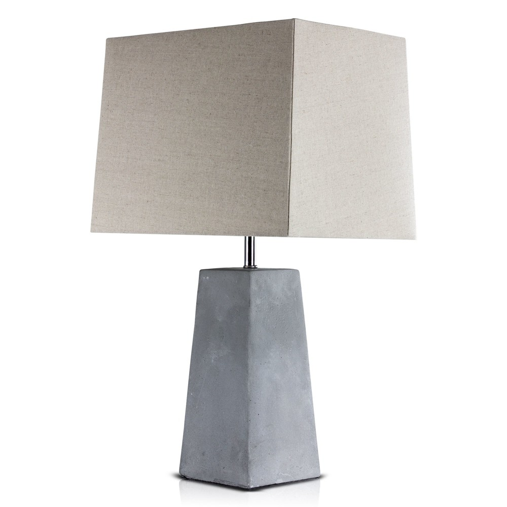 "Image of ""23"""" Gray Concrete Table Lamp (Includes Energy Efficient Light Bulb) - Crystal Art"""