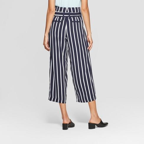 e5fdc5b38b2b Women s Striped Wide Leg Paperbag Crop Pants - A New Day™ Navy White    Target