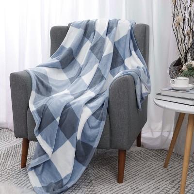 1 Pc 100% Microfiber Polyester Plaid Buffalo Checker Soft Fleece Sleeping Bed Blankets - PiccoCasa