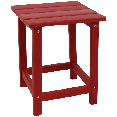 Sunnydaze Faux Wood Design Plastic All-Weather Square Modern Adirondack Side Table, Red
