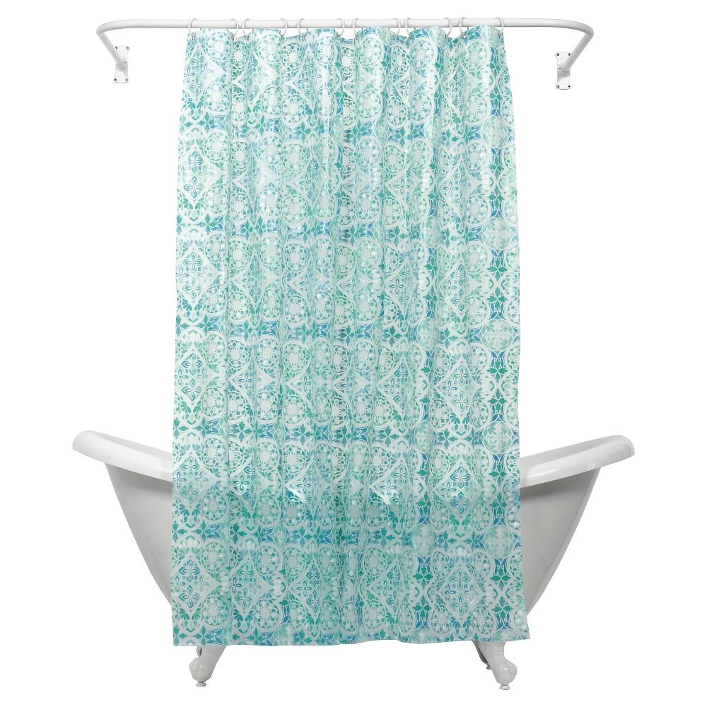 Image of Morocco PEVA Geometric Shower Curtain Blue - India Ink