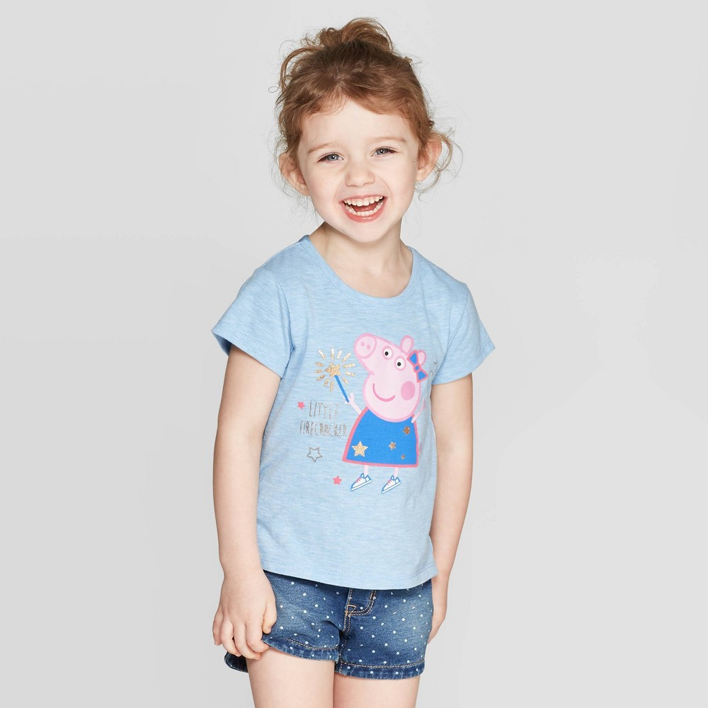 Girls' Peppa Pig Lil Firecracker Short Sleeve T-Shirt - Blue 5T