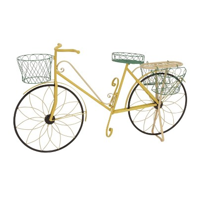 """32"""" Traditional Iron Novelty Bicycle Plant Stand Yellow - Olivia & May"""