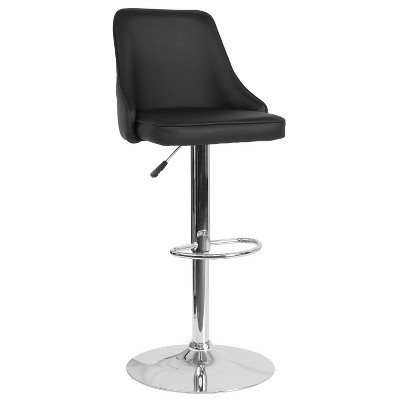 Merrick Lane Ergonomic Black Faux Leather Kitchen and Bar Stool with 360 Swivel, Adjustable Height and Chrome Footrest