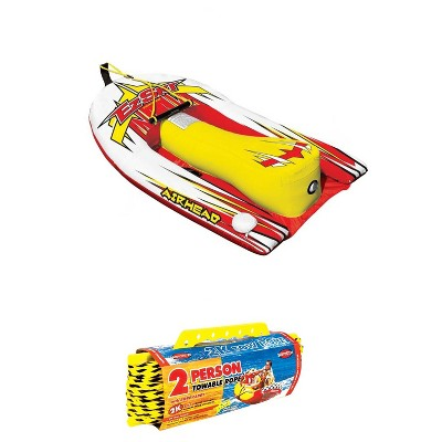 Airhead Big EZ Ski Inflatable Water Skiing Training Towable Tube w/ 60' Tow Rope