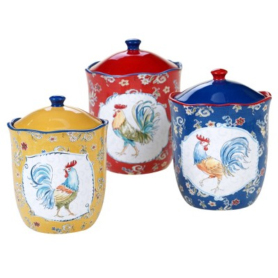 3pc Earthenware Morning Bloom Canister Set - Certified International