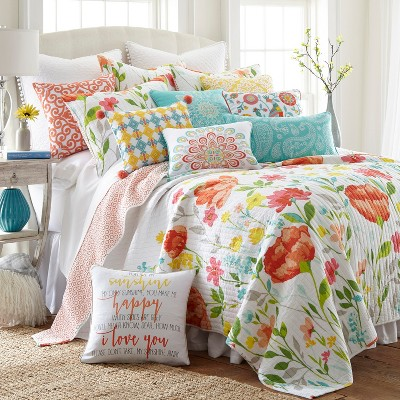 Laurel Coral Quilt and Pillow Sham Set - Levtex Home