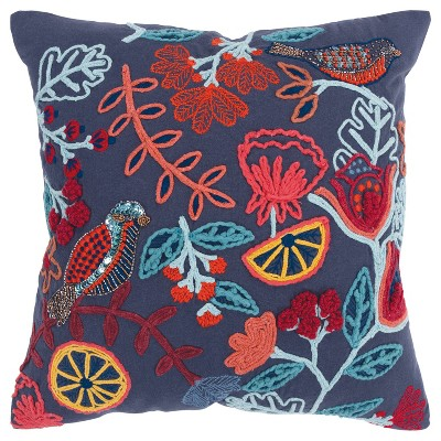 """20""""x20"""" Oversize Poly Filled Floral with Bird Square Throw Pillow Dark Blue - Rizzy Home"""