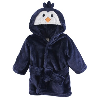 Luvable Friends Baby Boy Plush Bathrobe, Boy Penguin, 0-9M