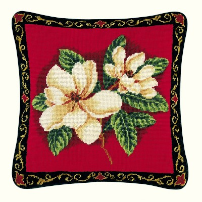 """C&F Home 14"""" x 14"""" Magnolias On Red Needlepoint Pillow"""