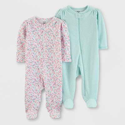 Baby Girls' 2pk Footed Sleepers - Just One You® made by carter's Pink/Aqua 6M