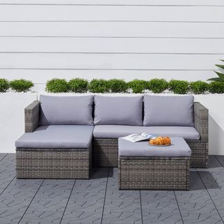 Daytona 3pc Vintage Outdoor Cushioned Wicker Corner Sofa with Footstool - Light Gray - Vifah