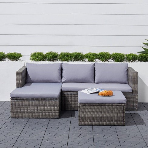 Daytona 3pc Vintage Outdoor Cushioned Wicker Corner Sofa with Footstool - Light Gray - Vifah - image 1 of 4