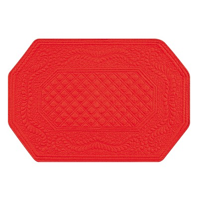 C&F Home Red Octagonal Single Placemat Set of 4