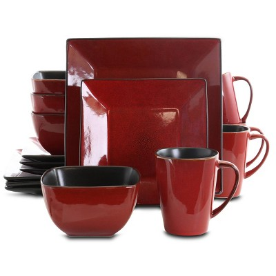 16pc Stoneware Heart Dinnerware Set Red - Elama