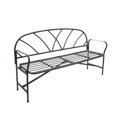 "34.75"" Modern Lattice Garden Patio Bench with Removable Back Graphite - ACHLA Designs"