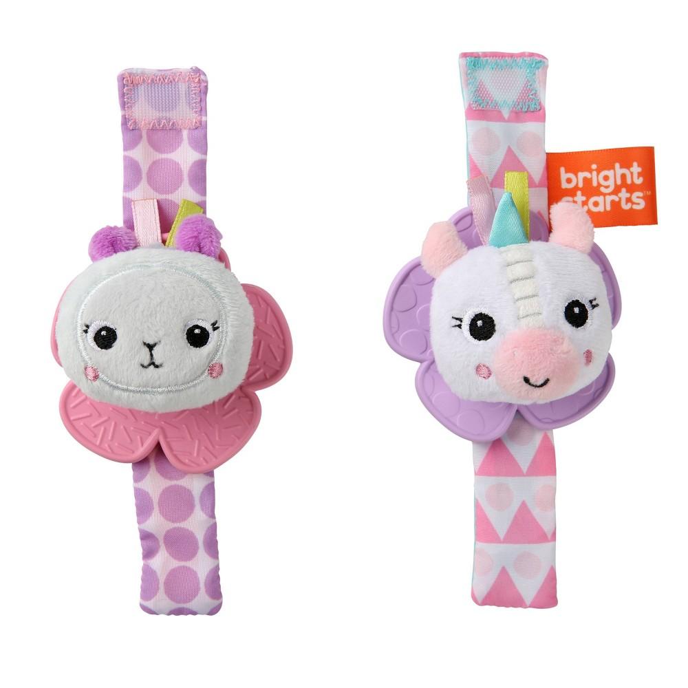 Image of Bright Starts Rattle & Teether Wrist Pals Toy - Unicorn & Llama