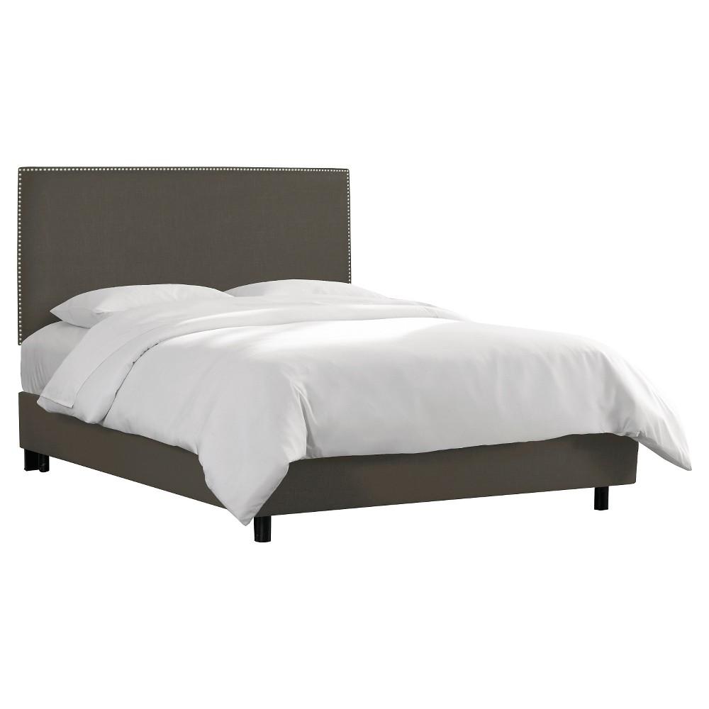 Queen Arcadia Nailbutton Linen Upholstered Bed Linen Slate - Skyline Furniture, Leisure Slate