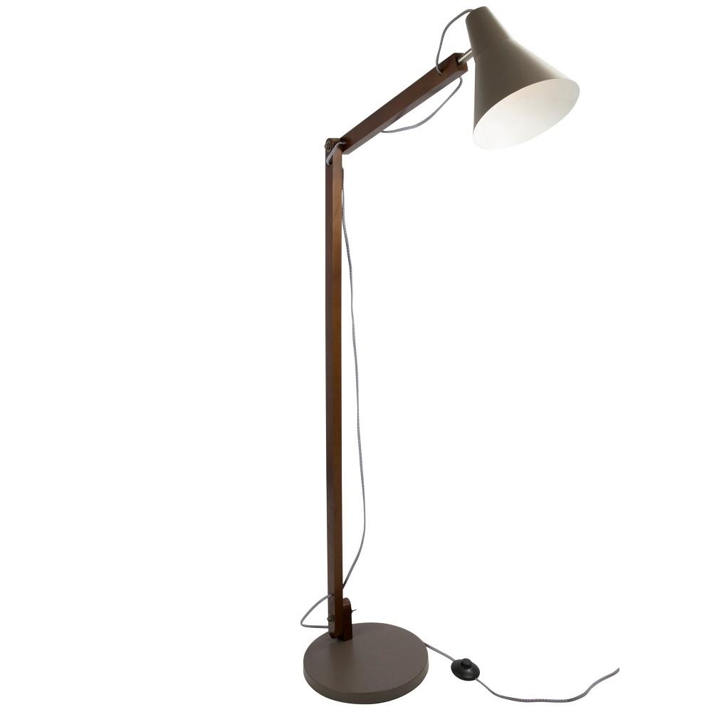 Oregon Industrial Adjustable Floor Lamp Walnut (Brown) (Lamp Only) - LumiSource