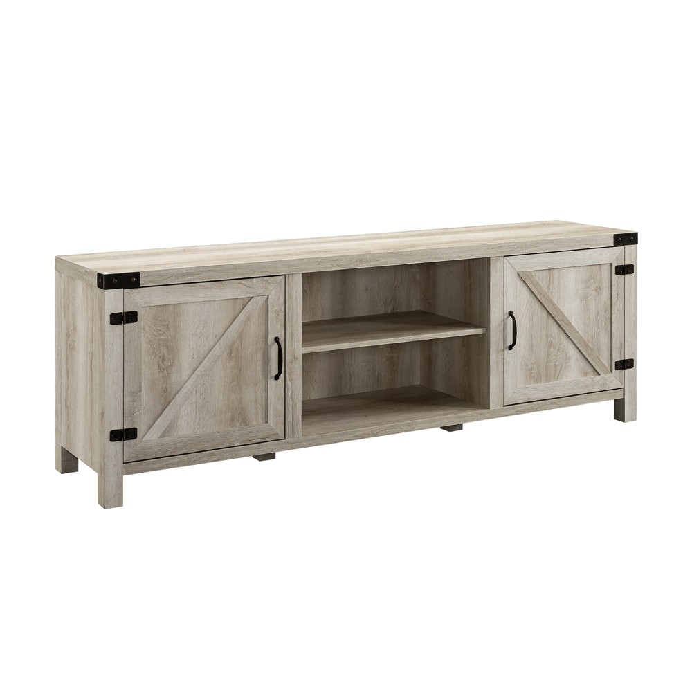 70 Modern Farmhouse Barn Door TV Stand White Oak - Saracina Home