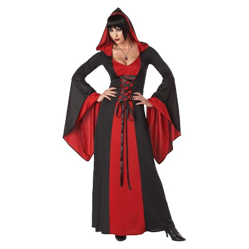 Women\'s Hooded Robe Costume Red/Black : Target
