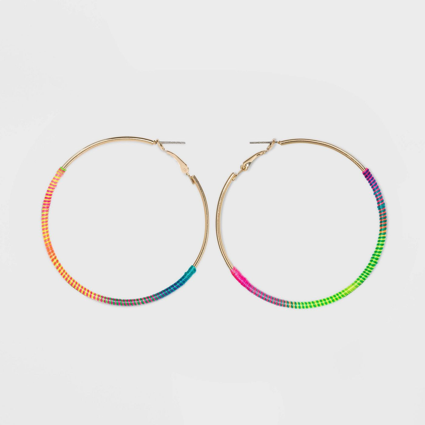 Shiny Gold with Thread Wrap Click Top Hoop Earrings - Wild Fable™ - image 1 of 4