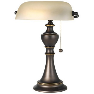 """Regency Hill Traditional Piano Banker Table Lamp 16"""" High Antique Bronze Metal Alabaster Glass Shade for Office Table"""