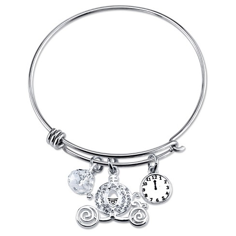 "Women's Stainless Steel Cinderella Carriage Clock Crystal Wire Bracelet - Silver (8"") - image 1 of 1"