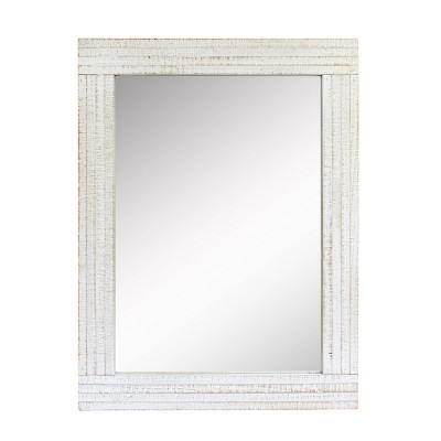 Rectangle Worn Wood Decorative Wall Mirror White - Stonebriar Collection