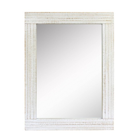 Rectangle Worn Wood Decorative Wall Mirror White - Stonebriar Collection - image 1 of 4