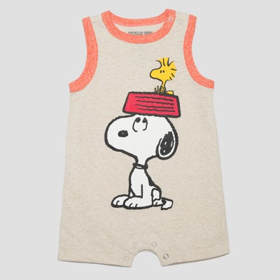 Baby Boys' Peanuts Tank Romper - Beige 3-6M