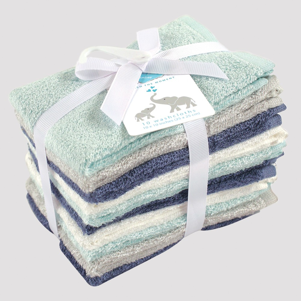 Image of Hudson Baby Boys' 10pk Washcloth Set - Blue/Mint (Blue/Green) 0-24M