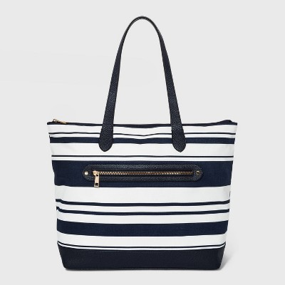 Striped Studded Zip Closure Tote Handbag - A New Day™ Navy