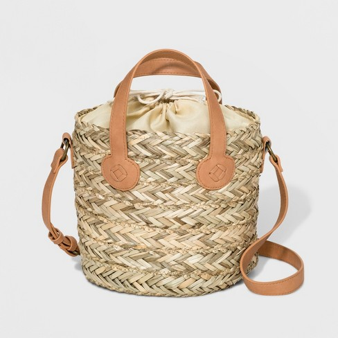 Straw Bucket Bag - Universal Thread™ Natural - image 1 of 5