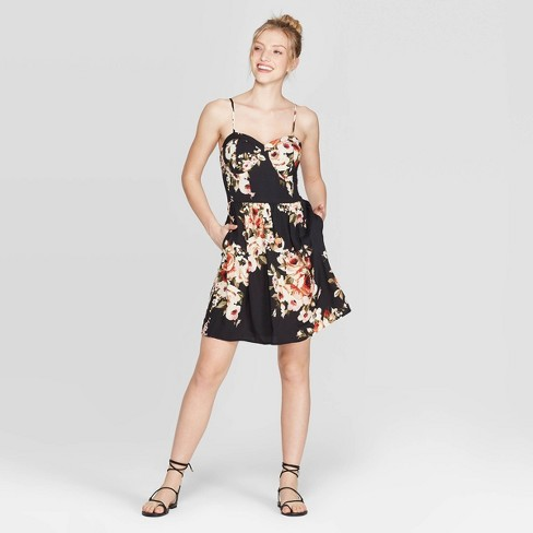 Women's Floral Print Strappy Bra Cup Dress - Xhilaration™ - image 1 of 4