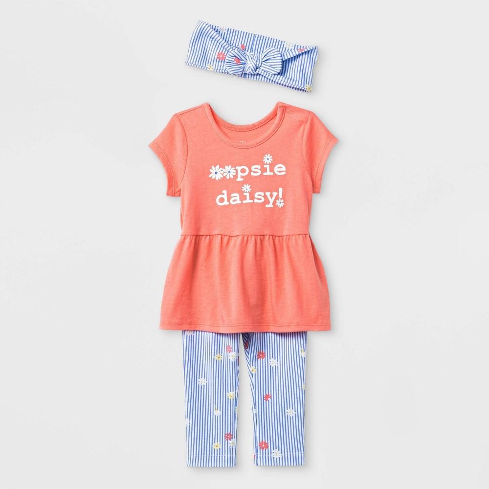 Baby Girls' Headband, Shorts sleeve Tunic and Leggings Set - Cat & Jack Peach/Blue 24M, Pink