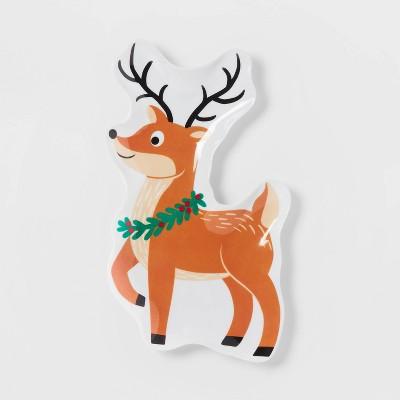 """11"""" Melamine Reindeer Figural Plate - Wondershop™"""